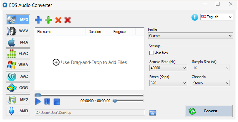 EDS Audio Converter. Click to see the full-size image.