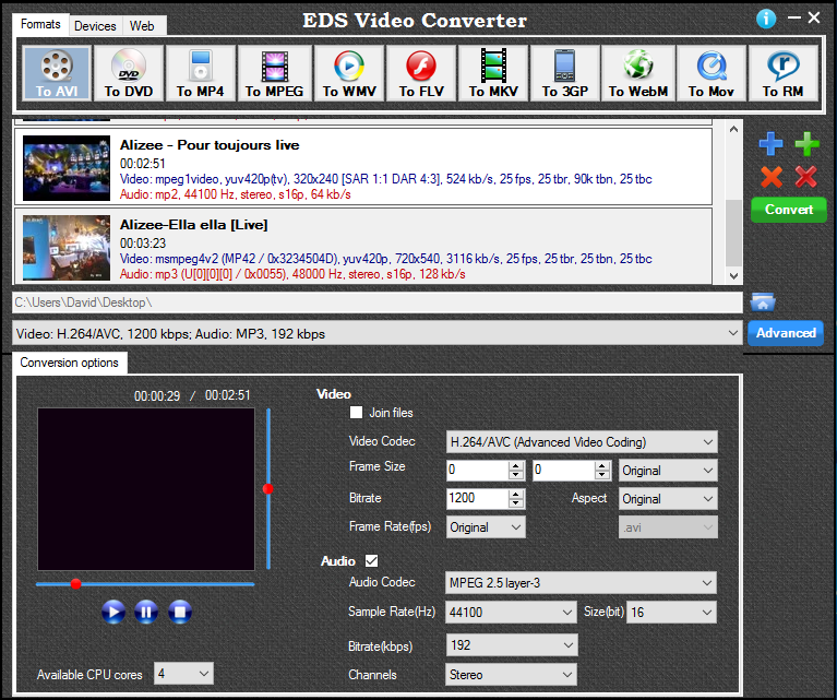EDS Video Converter. Click to see the full-size image.